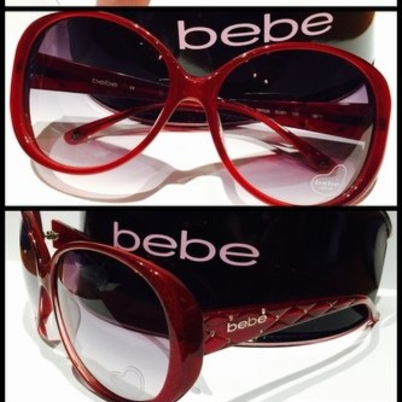 6ee20ac2856 NWT Bebe Women s Baby Cakes Round Ruby Sunglasses